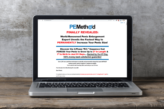 PE Method website displayed on a laptop.